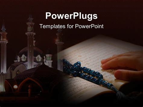 Powerpoint Template Hand On Koran With Prayer Beads And A Temple In The Background 17717 Free Islamic Powerpoint Templates