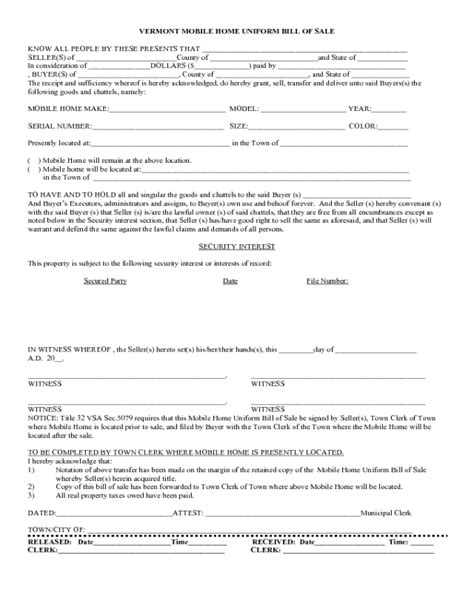 vermont dmv boat bill of sale 2018 manufactured home bill of sale form fillable