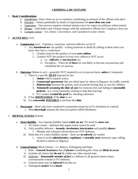 Legislation And Regulation School Outline by Criminal Bar Outline Oxbridge Notes United States