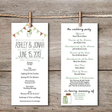 printable wedding program rustic vintage banner mason