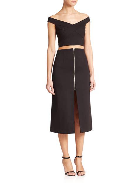 nicholas zip front ponte midi skirt in black lyst