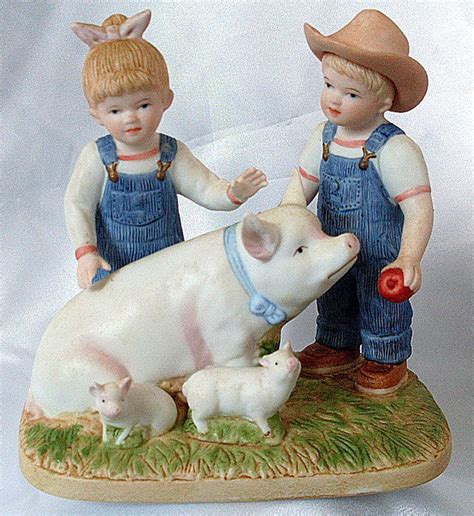 denim days home interior 1985 homco figurine denim days prize pig porcelain girl boy