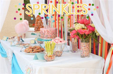 birthday themes 15 year olds rainbow sprinkles birthday party and candy buffet ideas