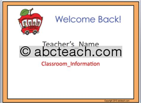 welcome back template powerpoint template welcome back to school abcteach