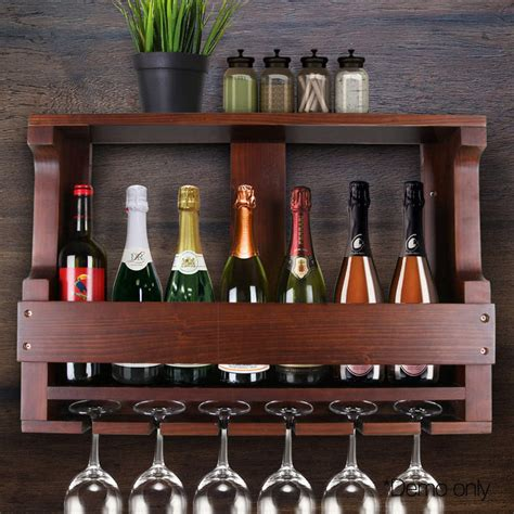 Wine Bottle And Glass Rack by 7 Bottle Wall Mounted Wine And Glass Rack In Brown Buy