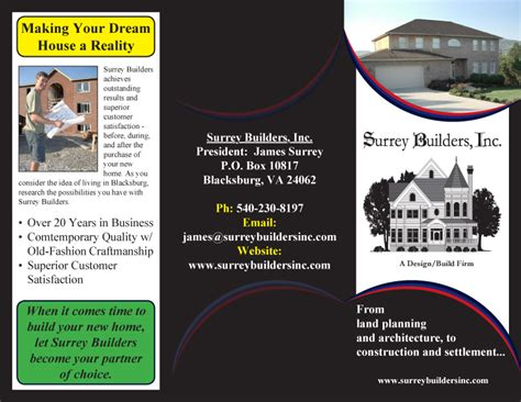 Contemporary Home Style surrey builders logos and brochures