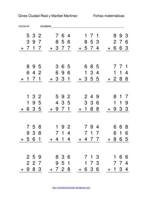 Sumas de tres números de tres cifras -Orientacion Andujar