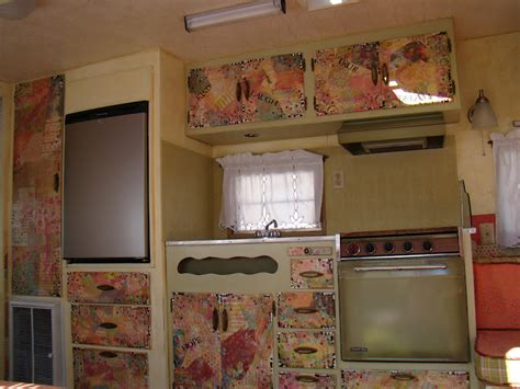 decoupage kitchen cabinets my brown eyed before and after inside my 1968 quot ideal quot trailer
