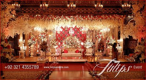 Red Crystal Theme Reception   Nikah hall decor   Pakistani