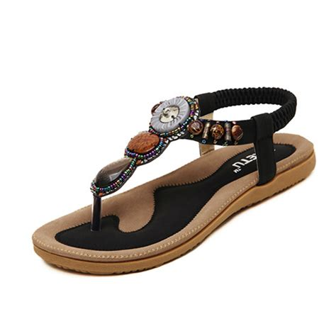 Sandal Unik Sandal Bohemian Terlaris 4 2016 casual summer shoes bohemian sandals slip on gemstone beaded flat ethnic shoe ladie