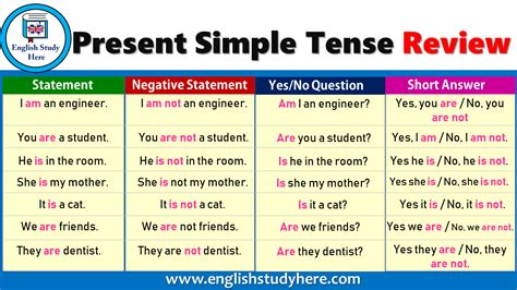 Tenses Review present simple tense review study here