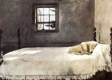 andrew wyeth master bedroom ivory a dog sleeping in the bed canvas animal oil painting