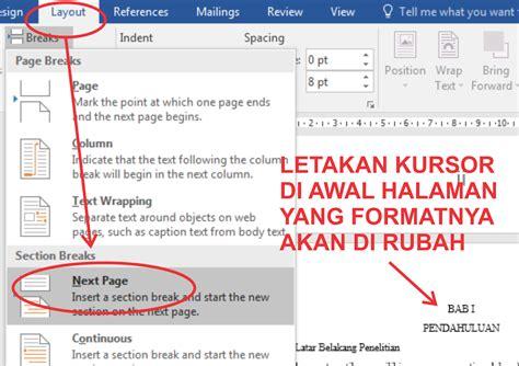 membuat format nomor halaman yang berbeda cara membuat nomor halaman dengan format dan posisi yang