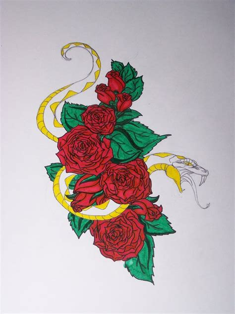 snake and rose tattoo designs snake design by refeathers1104 on deviantart