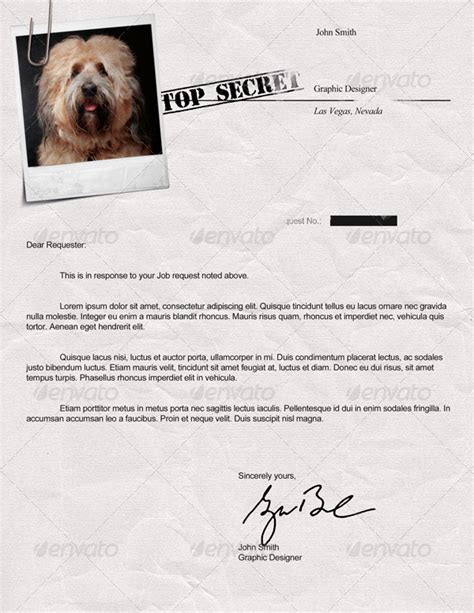 secret cover letter top secret resume cv by dengio graphicriver