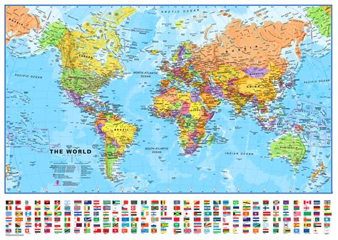 the world map world map political maps int 136 x 100cm plastified gift