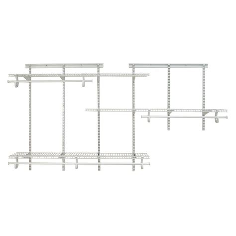 White Wire Closet Organizers Closetmaid Shelftrack 5 Ft 8 Ft White Wire Closet