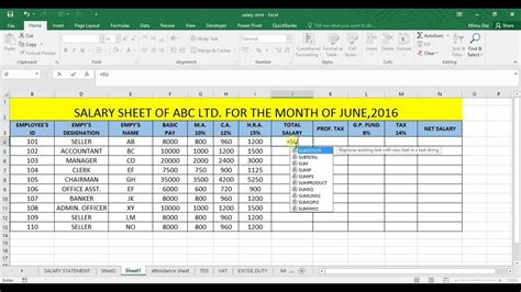 salary sheet template in excel salary statement in excel