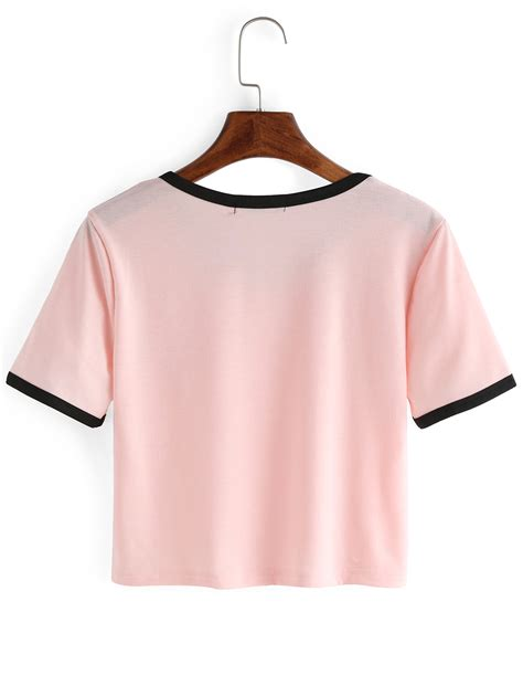 T Shirt S crew neck print crop t shirt shein sheinside