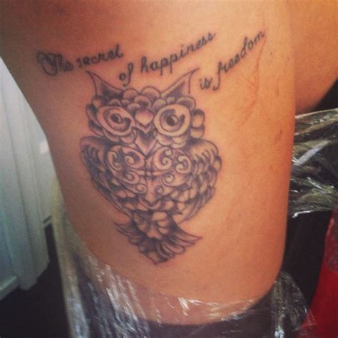 owl tattoo sayings my new thigh owl quote tattoo tattooos pinterest