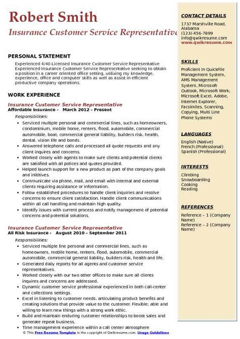 customer service representative resume sle pdf insurance customer service representative resume sles qwikresume
