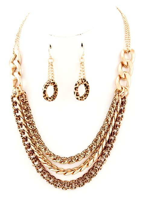 Three Layer Necklace metal chain three layer necklace set necklaces