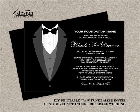 Wedding Favor Idea Black And White Formal Affair Favor Boxes by Black Tie Dinner Fundraising Invitations Printable