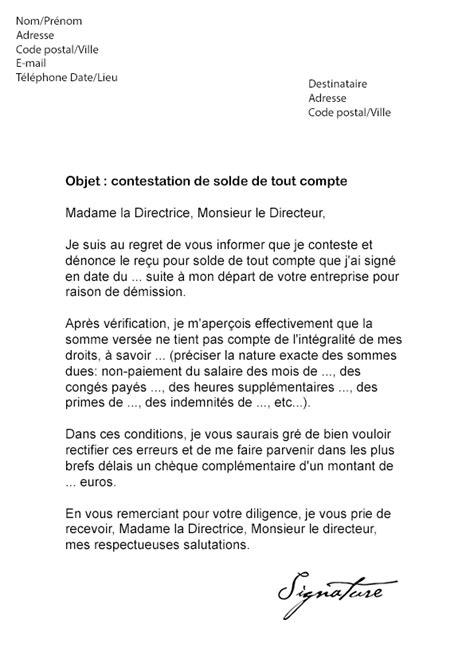 Exemple De Lettre Solde Tout Compte Modele Lettre Pour Contester Un Solde De Tout Compte