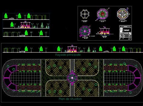 childrens playground simple layout dwg block  autocad