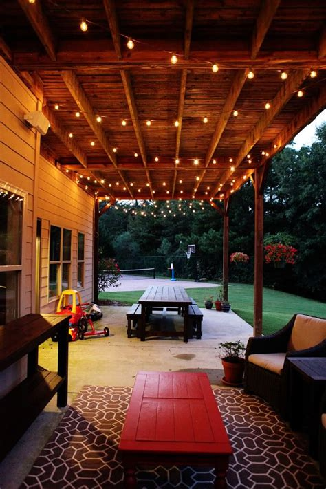 Outdoor Hanging Patio Lights Hanging String Lights From Ceiling String Lights House Patios Ideas Outdoor Spaces Outdoor
