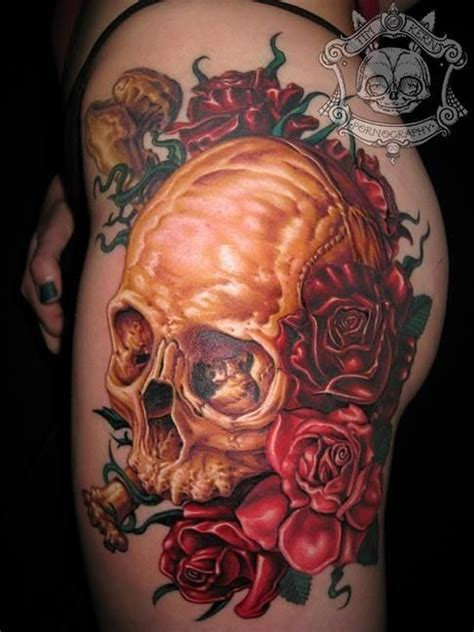 colored skull tattoo designs colors skull with bones and roses