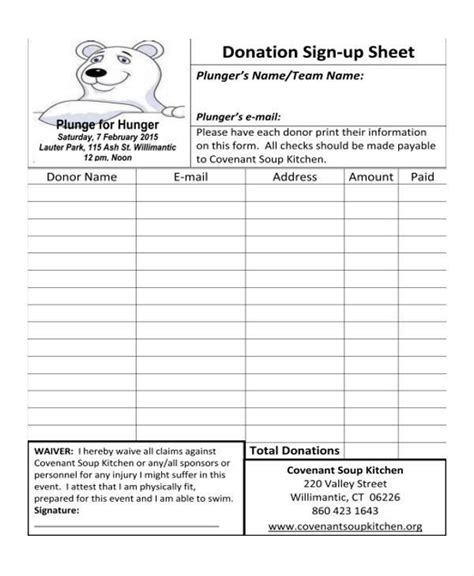 donation sign up sheet template 10 sign up sheet sles templates sle templates