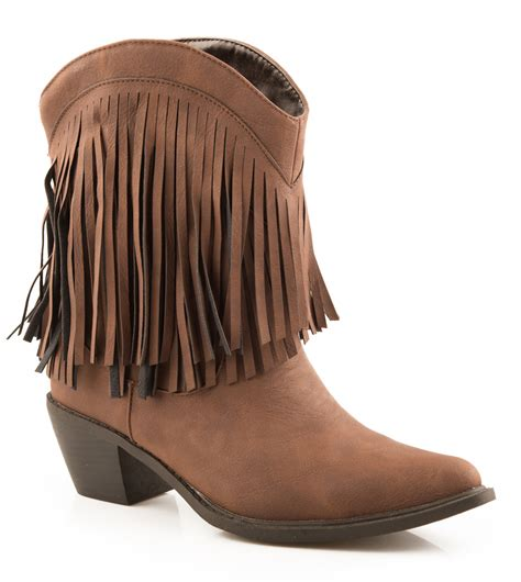 womens fringe boots roper fashion womens faux smooth leather 8 quot shorty western