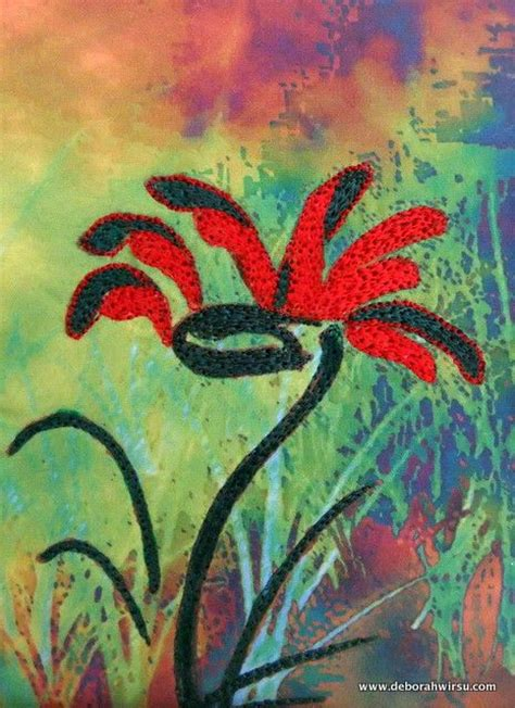 an abstract micro quilt featuring the australian kangaroo paw flower 3 5 quot x 5