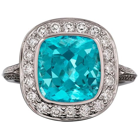 Tourmaline Paraiba paraiba tourmaline ring 3 62 carat for sale at 1stdibs