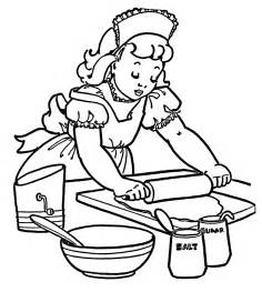 Vintage coloring image little girl baking the graphics fairy