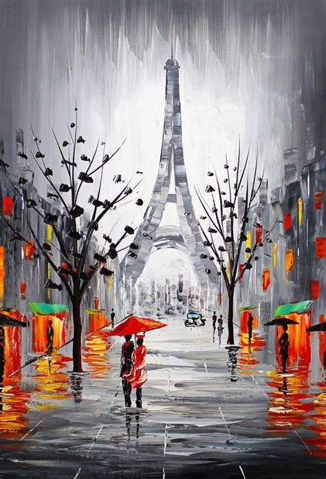 Painted L by Eiffel Tower Cityscape Signed Original