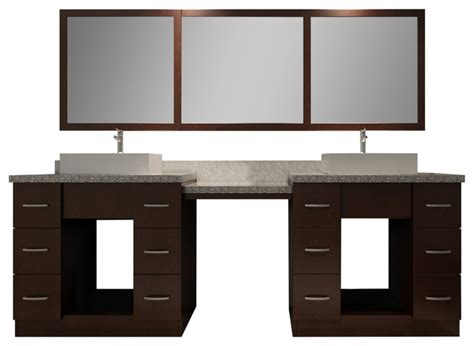 Ariel Vanity Table by Ariel Roosevelt 97 Quot Sink Vanity Set Walnut With Makeup Table Transitional Bathroom