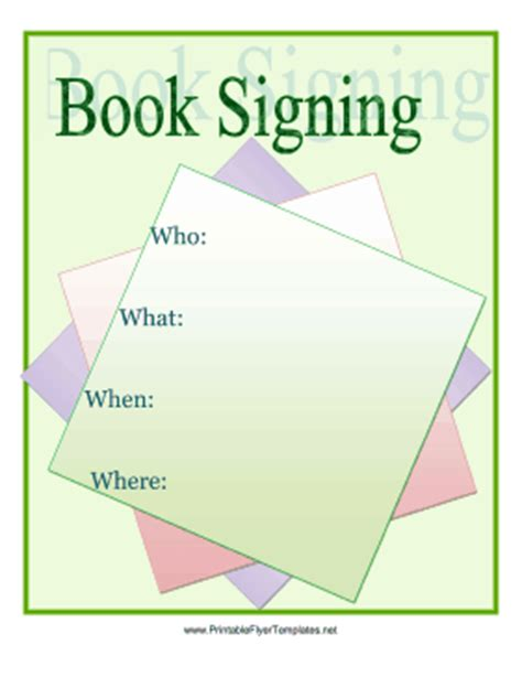 book signing poster template book signing flyer