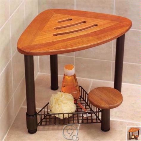 Wood Shower Stool by Genuine Teak Wood Shower Seat Corner Stool Bronze Legs Ebay