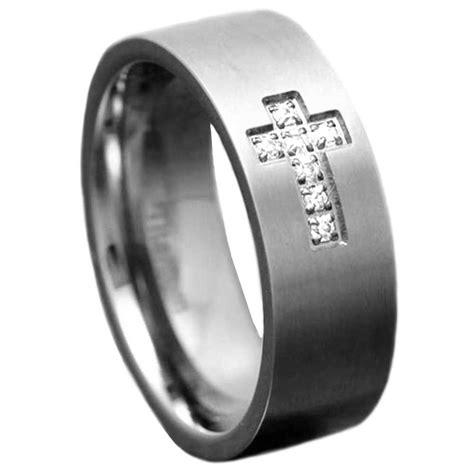 mm titanium satin top cubic zirconia christian cross men