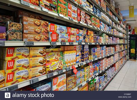 Shelf Of Biscuits by Cookie Shelf In A Supermarket Stock Photo Royalty Free
