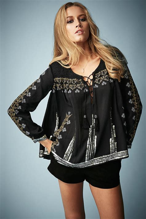 Dominic Black Blouse topshop embroidered smock blouse by kate moss in black lyst
