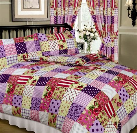 Pink Patchwork Bedding - pink purple colour multi patchwork design reversible