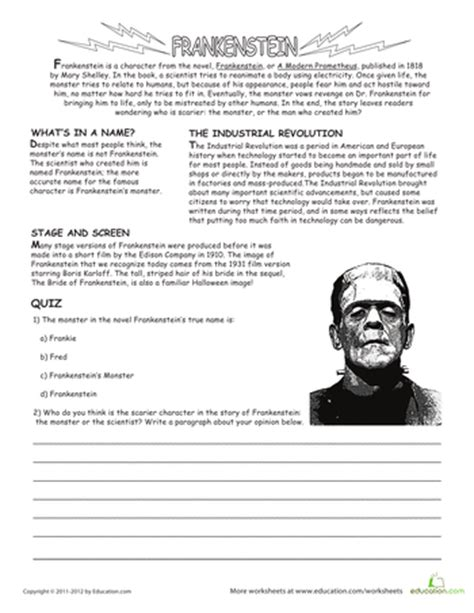 themes in frankenstein worksheet halloween activity sheets for middle school festival