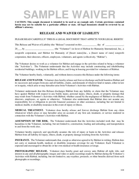Volunteer Release And Waiver Template Waiver Template
