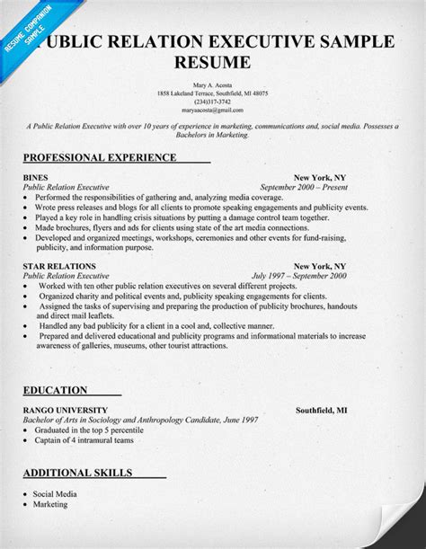 Relation Executive Resume by Relation Executive Resume Sle Resumecompanion