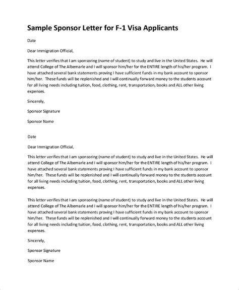 Sponsor Bank Letter Sle Visa Sponsorship Letter 7 Documents In Pdf Word
