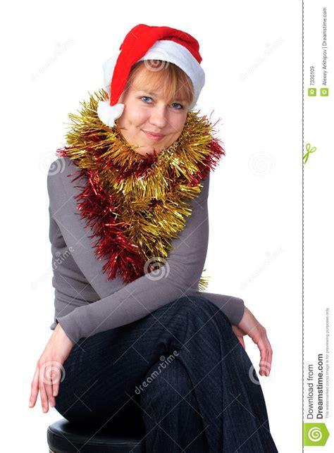 woman wearing a santa hat royalty free stock images