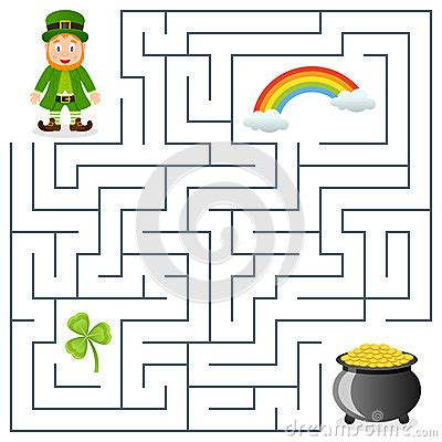 St Grande Kid leprechaun pot of gold maze for royalty free stock